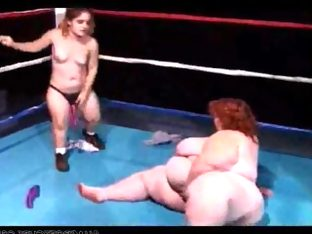Huge boob bbw wrestles a midget girl then fucks..