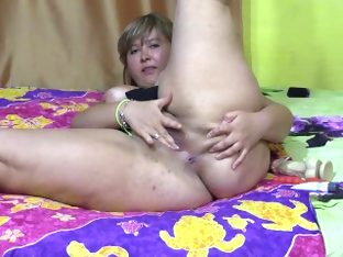 Fatty fucks herself dildo hot
